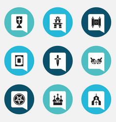 Set of 9 editable religion icons includes symbols vector