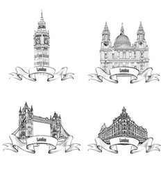 London famous buildings set engraving collection vector