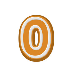 Number 0 gingerbread font peppermint honey cake vector