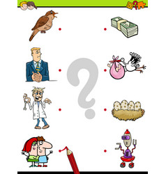 Match objects educational game for kids vector