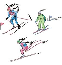 Biathlon and alpine skiing vector