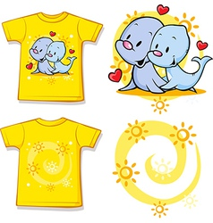 Kid shirt with cute seal printed vector