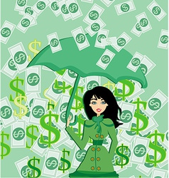 Happy woman holding an umbrella in a money rain vector