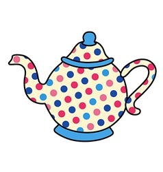 Polka dot tea pot vector