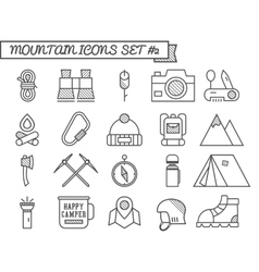 Set of camp travel icons thin line style flat vector
