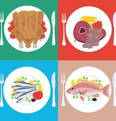 Food dishes set vector
