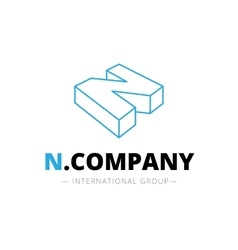 Isometric line style n letter logo company vector