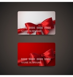 Gift cards with red bow and ribbon vector