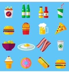Fast food design icons set for web and mobile vector