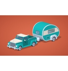 Low poly turquoise retro pickup with motor home vector