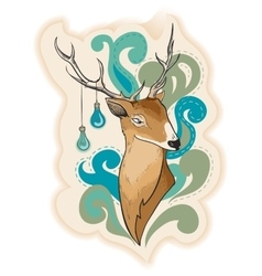 Deer with lamps on horns vector