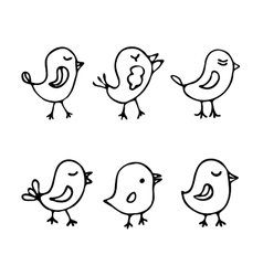 Set of line art cartoon birds vector