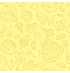 Seamless pattern with sweets on a yellow vector image