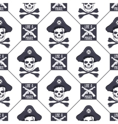 Seamless pattern with skulls old pistols vector