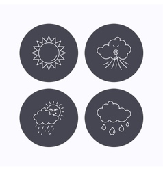 Weather sun and wind icons vector