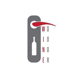 Wine door concept with bottle design template vector