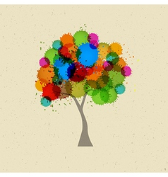 Abstract Tree With Colorful Splashes vector image