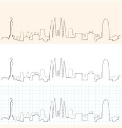Barcelona hand drawn skyline vector