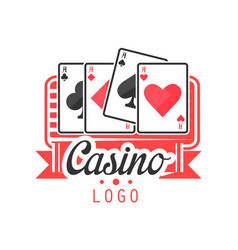 casino logo colorful vintage gambling badge or vector image