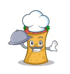 Chef with food kebab wrap character cartoon vector