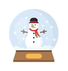 Christmas snow globe with funny snowman vector