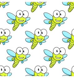 Colorful dragon fly seamless pattern vector image
