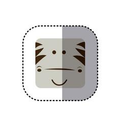 Colorful face sticker of zebra face in square vector