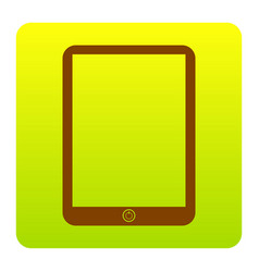 computer tablet sign brown icon at green vector image