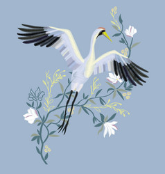 crane embroidery vector image