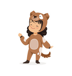 Cute happy little girl dressed as a brown puppy vector