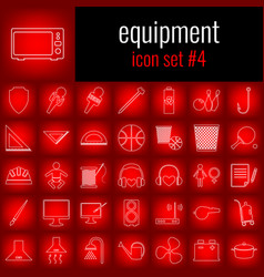 equipment icon set 4 white line icon on red vector image vector image