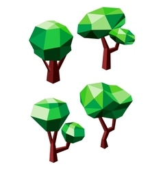 Geometric polygonal green trees icons vector