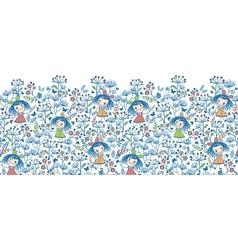 Girls in the flower garden horizontal seamless vector image vector image