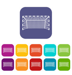 Goal post icons set flat vector