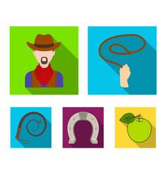 Hand lasso cowboy horseshoe whip rodeo set vector