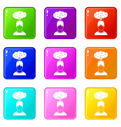 Man with red cloud over head icons 9 set vector