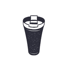Monochrome thermo cup shape icon vintage hand vector