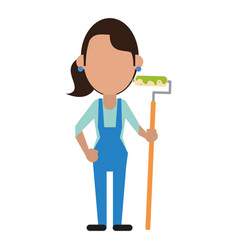 Painter woman with overalls and roller vector
