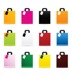 Paper bag set in color with tag vector