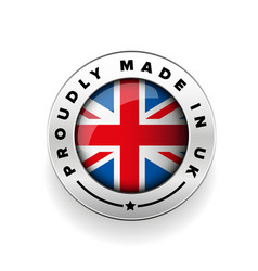 Proudly made in the uk silver badge vector