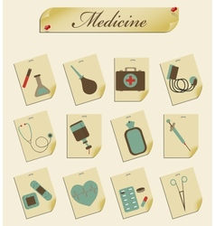 retro icons medicine vector image