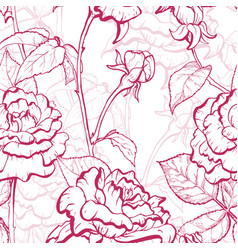 rose hand drawn pattern vector image vector image
