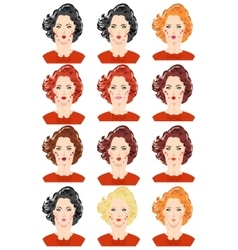 Set of beautiful women portraits vector image vector image