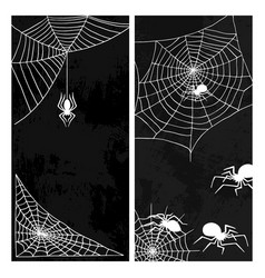 spiders web silhouette spooky nature vector image