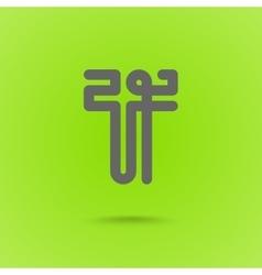 T type line design T letter vector image