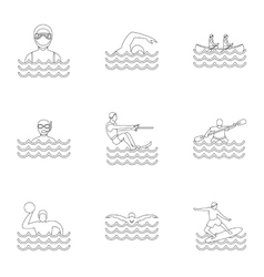 Water stay icons set outline style vector image vector image