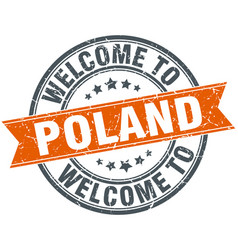 Welcome to poland orange round ribbon stamp vector