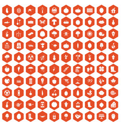 100 garden icons hexagon orange vector
