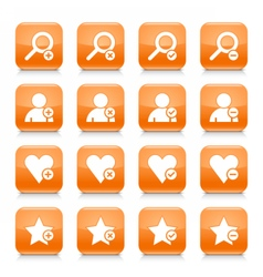 Orange additional sign square icon web button vector