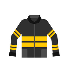 black and yellow firefighter jacket icon vector image